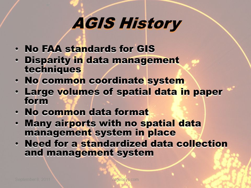 AGIS History No FAA standards for GIS