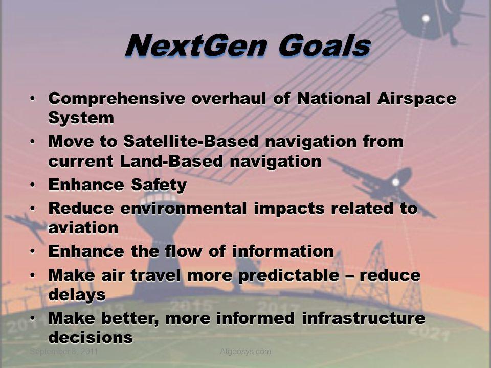 NextGen Goals Comprehensive overhaul of National Airspace System