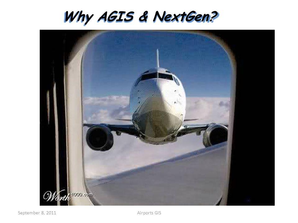 Why AGIS & NextGen September 8, 2011 Airports GIS