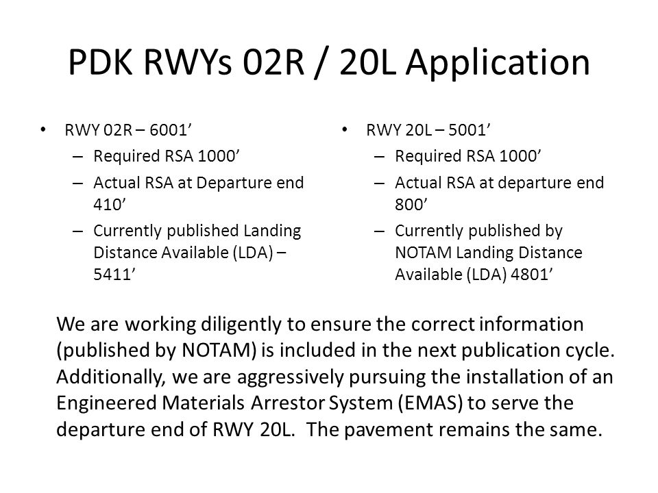 PDK RWYs 02R / 20L Application