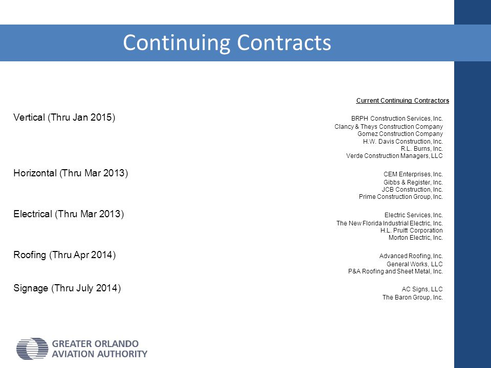 Continuing Contracts Current Continuing Contractors. Vertical (Thru Jan 2015) BRPH Construction Services, Inc. Clancy & Theys Construction Company.