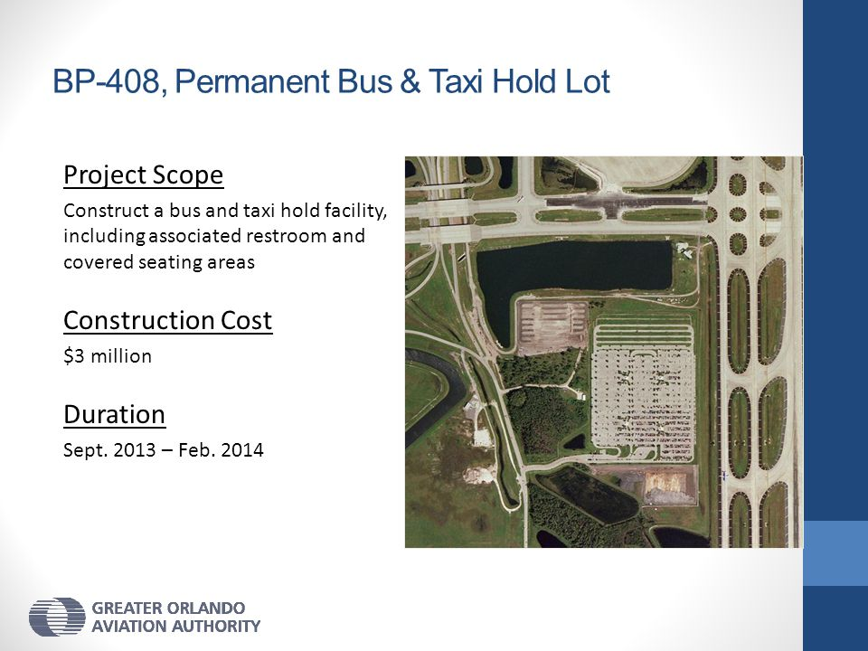 BP-408, Permanent Bus & Taxi Hold Lot