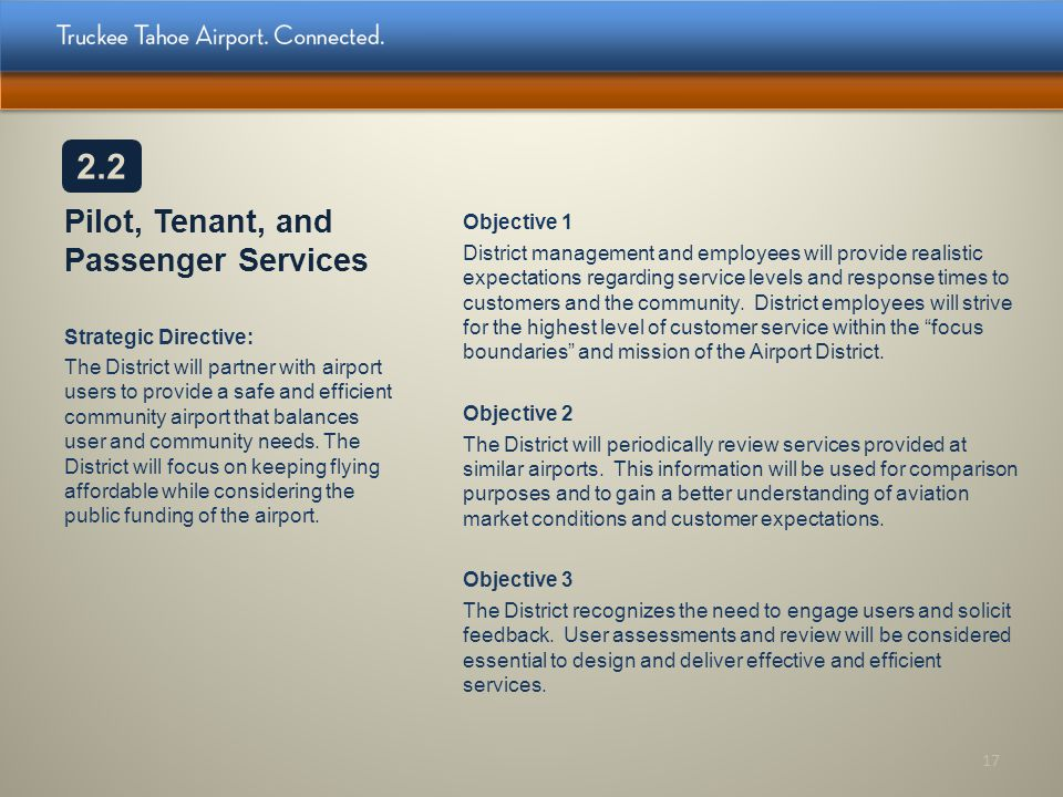Pilot, Tenant, and Passenger Services