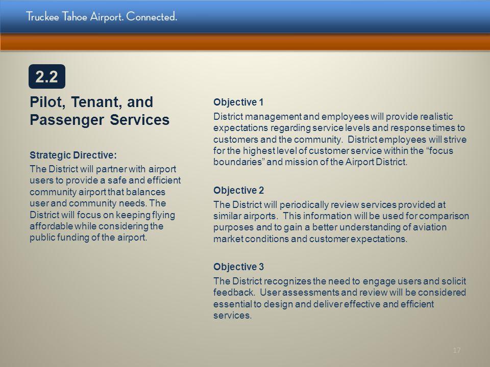 Pilot, Tenant, and Passenger Services