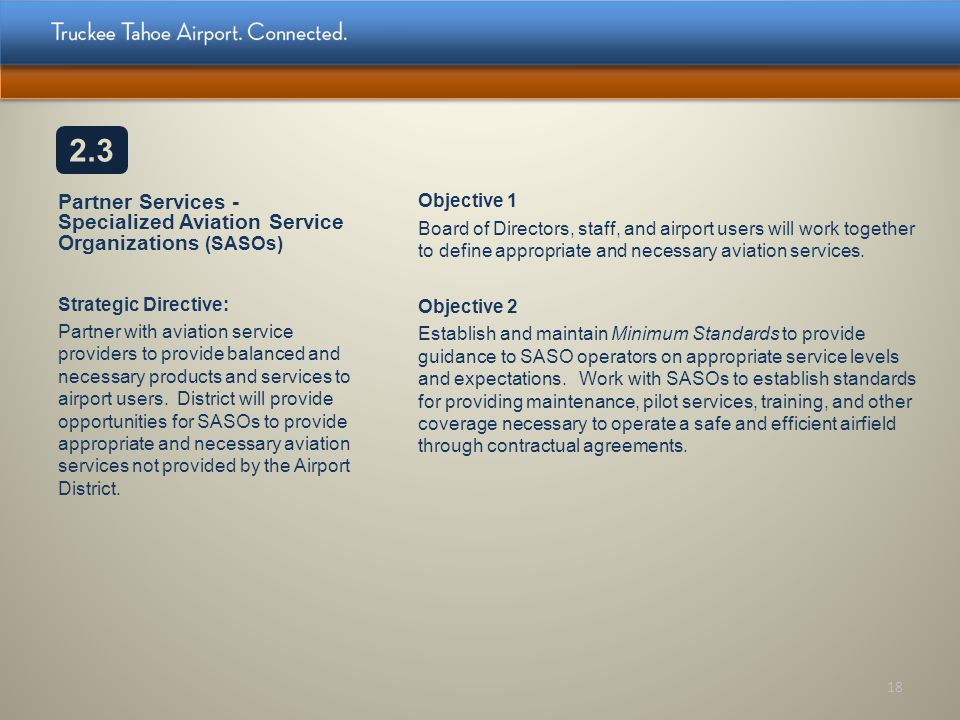 2.3 Partner Services - Specialized Aviation Service Organizations (SASOs) Objective 1.