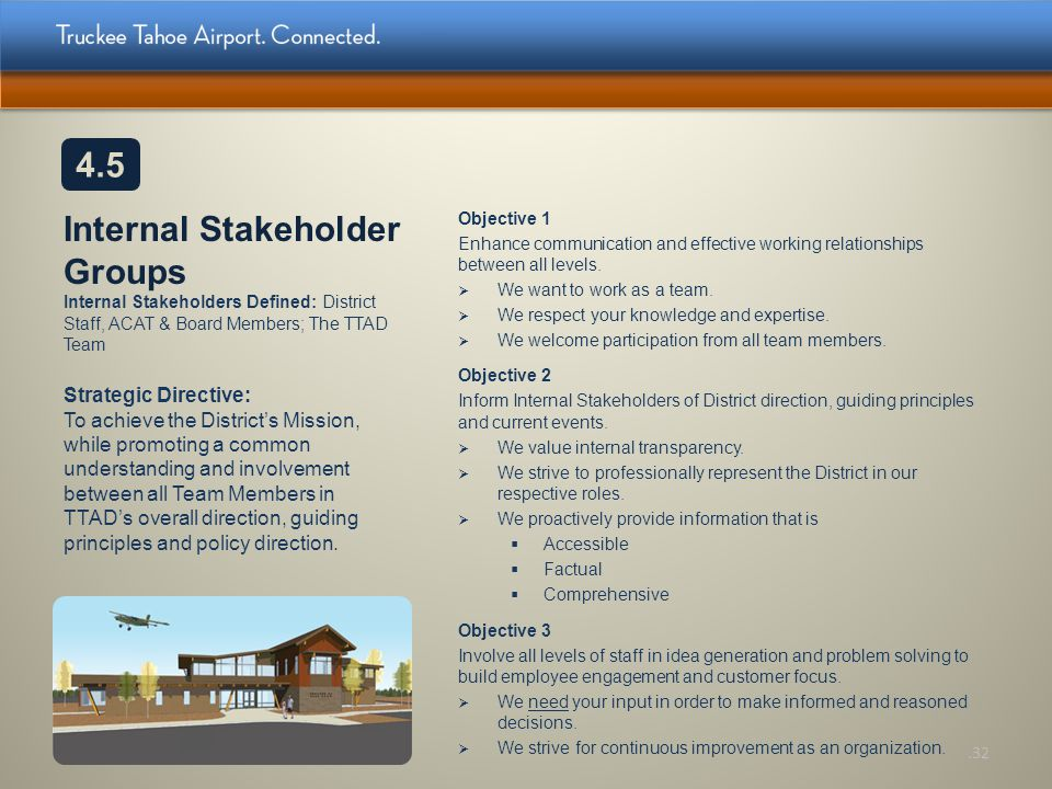 4.5 Internal Stakeholder Groups Internal Stakeholders Defined: District Staff, ACAT & Board Members; The TTAD Team.