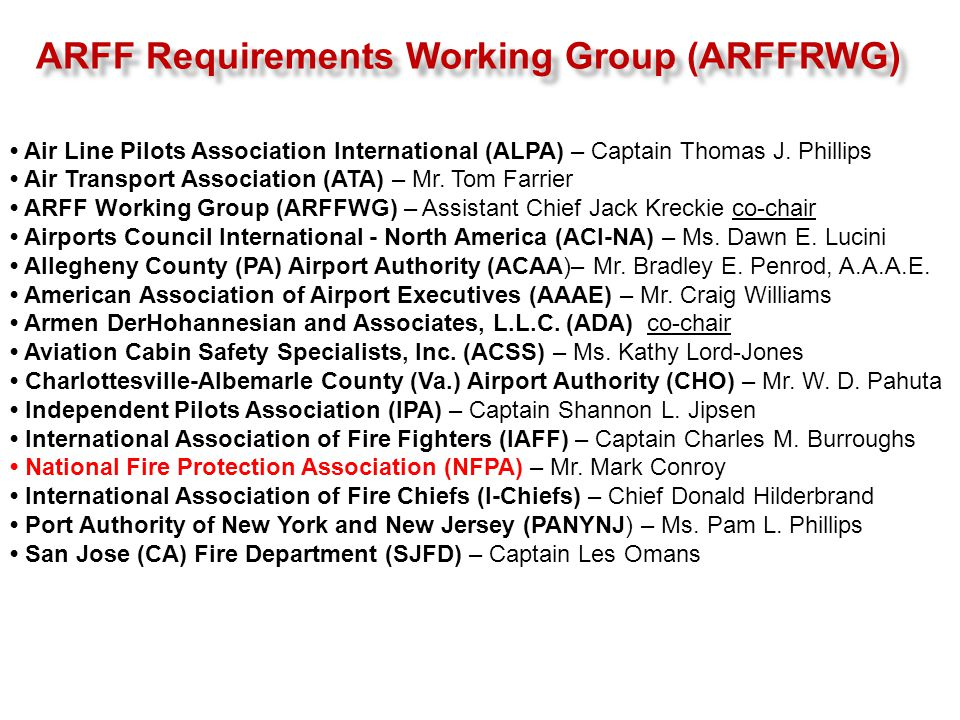 ARFF Requirements Working Group (ARFFRWG)