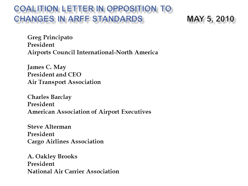 Coalition Letter in Opposition to Changes in ARFF Standards May 5, 2010