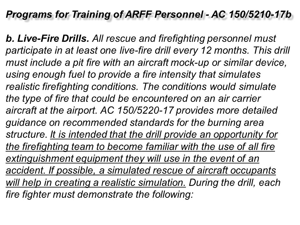 Programs for Training of ARFF Personnel - AC 150/5210-17b