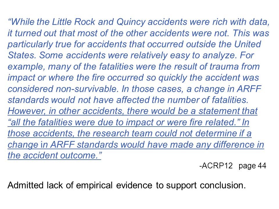 Admitted lack of empirical evidence to support conclusion.