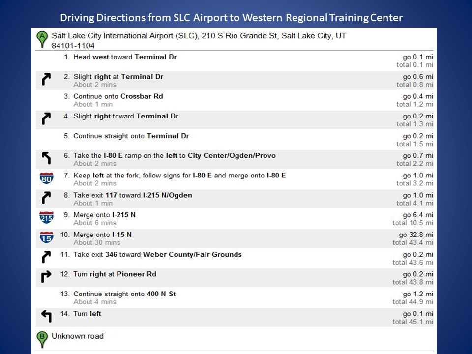 Driving Directions from SLC Airport to Western Regional Training Center