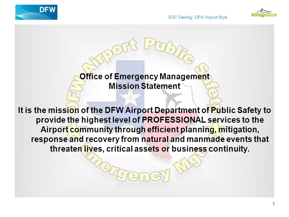 Office of Emergency Management Mission Statement