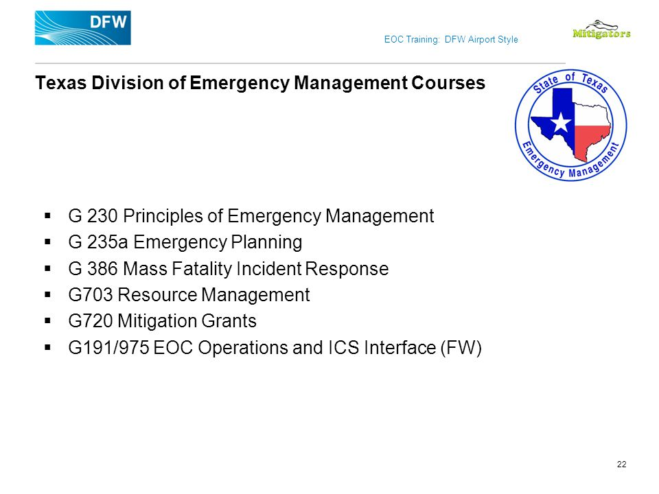 Texas Division of Emergency Management Courses