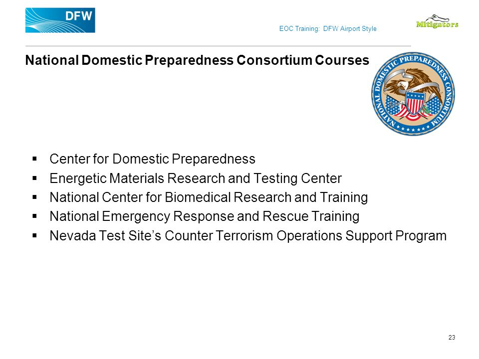 National Domestic Preparedness Consortium Courses