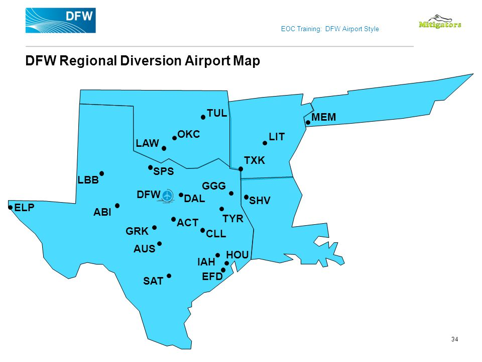 DFW Regional Diversion Airport Map