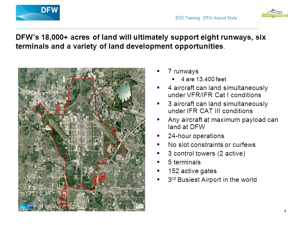 DFW's 18,000+ acres of land will ultimately support eight runways, six terminals and a variety of land development opportunities.