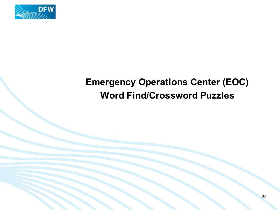Emergency Operations Center (EOC) Word Find/Crossword Puzzles