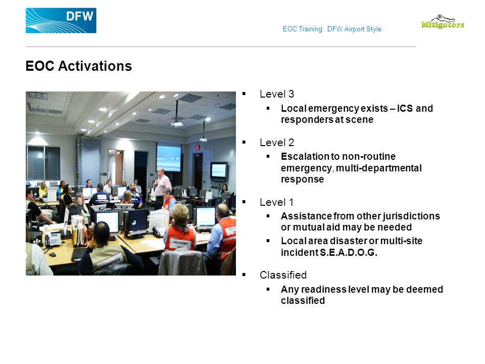 EOC Activations Level 3 Level 2 Level 1 Classified