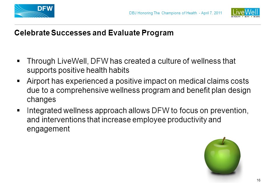 Celebrate Successes and Evaluate Program