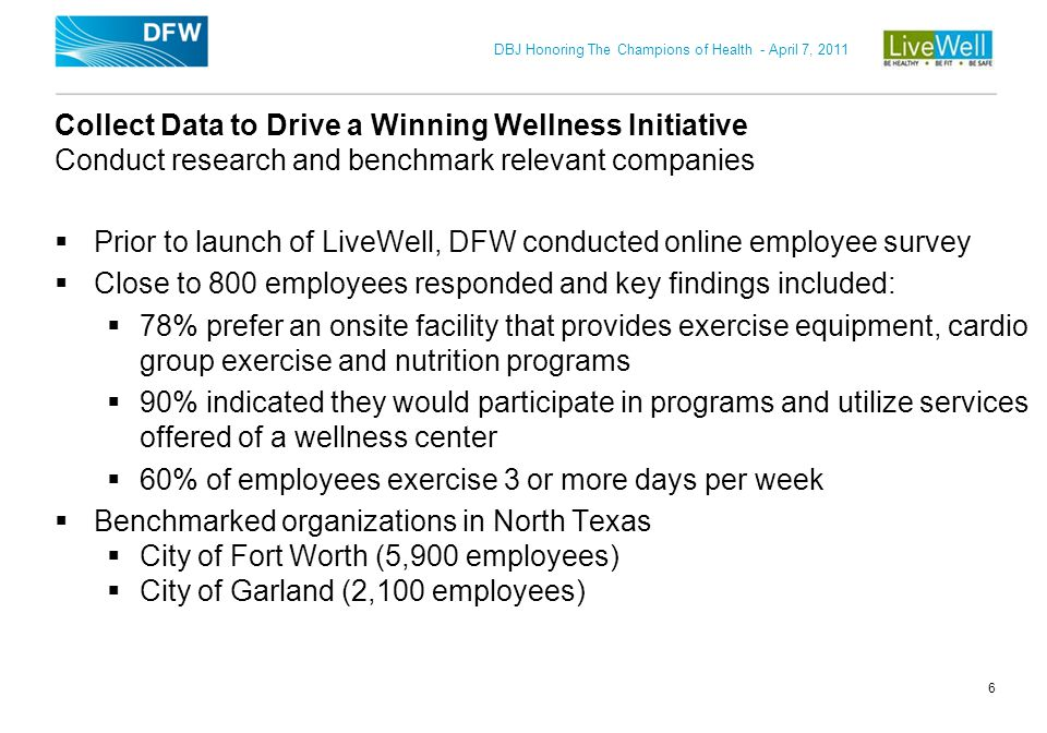 Prior to launch of LiveWell, DFW conducted online employee survey