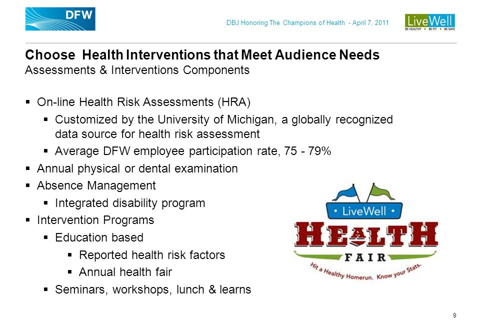 Choose Health Interventions that Meet Audience Needs Assessments & Interventions Components
