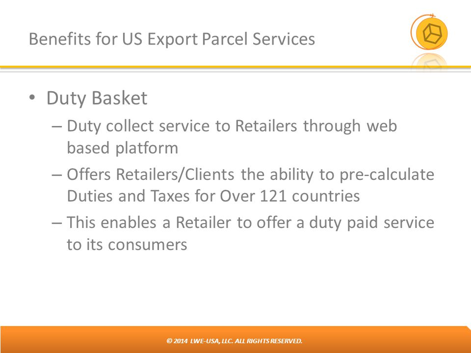 Benefits for US Export Parcel Services