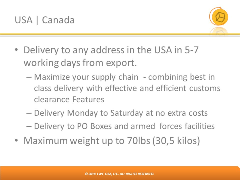 Delivery to any address in the USA in 5-7 working days from export.