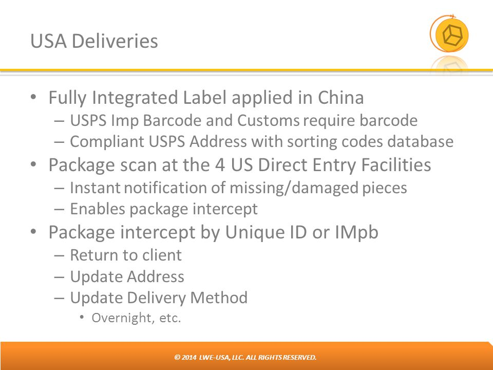 USA Deliveries Fully Integrated Label applied in China