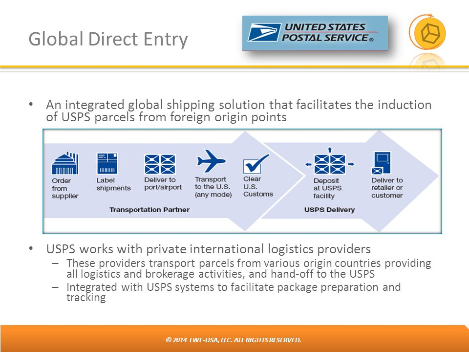 Global Direct Entry An integrated global shipping solution that facilitates the induction of USPS parcels from foreign origin points.