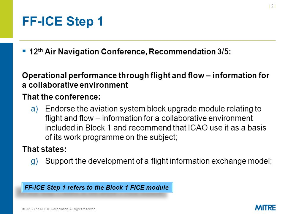 FF-ICE Step 1 12th Air Navigation Conference, Recommendation 3/5: