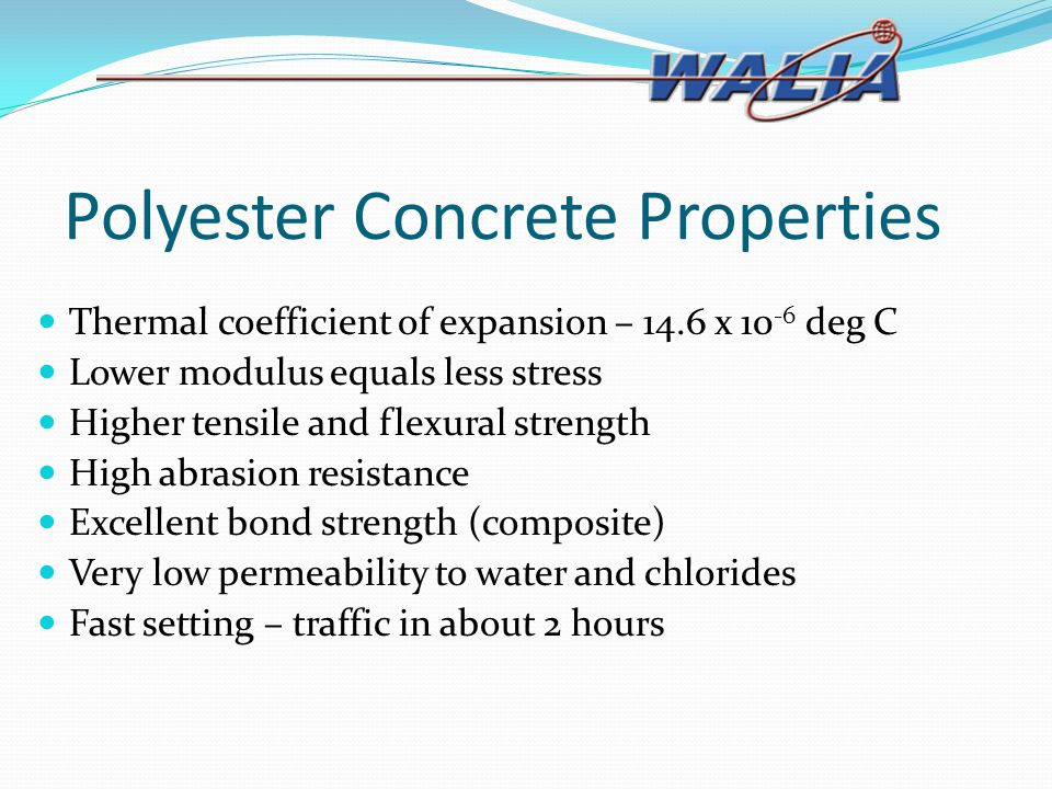 Polyester Concrete Properties