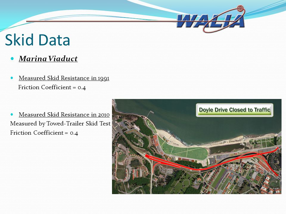 Skid Data Marina Viaduct Measured Skid Resistance in 1991