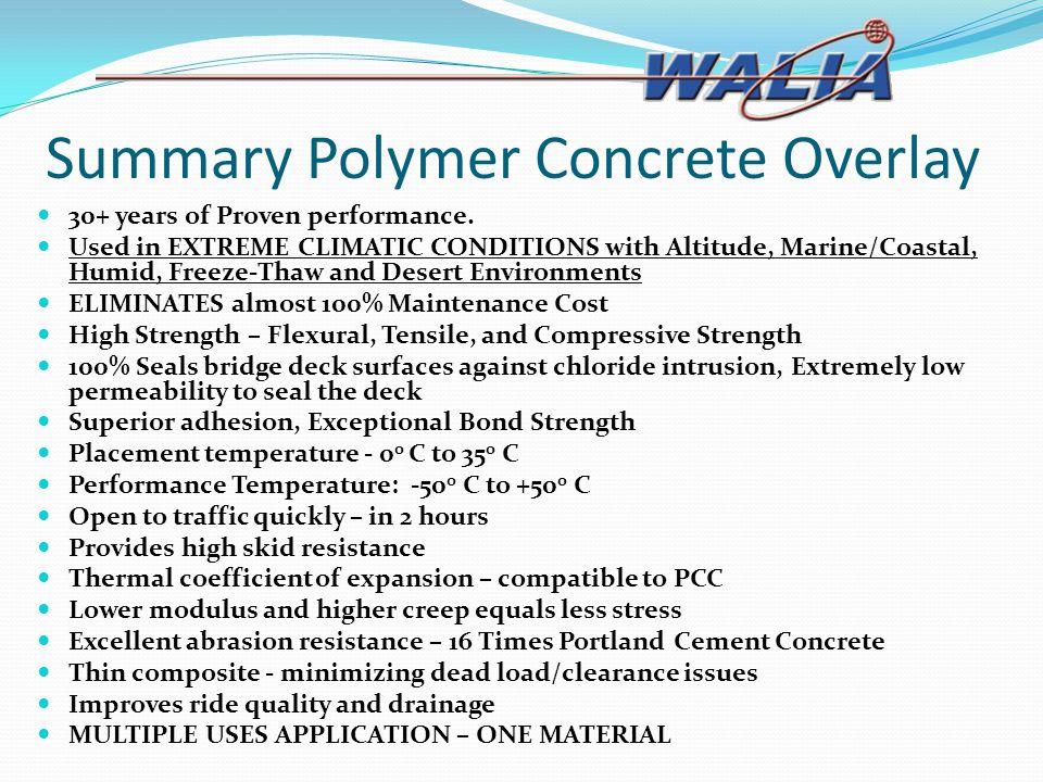 Summary Polymer Concrete Overlay