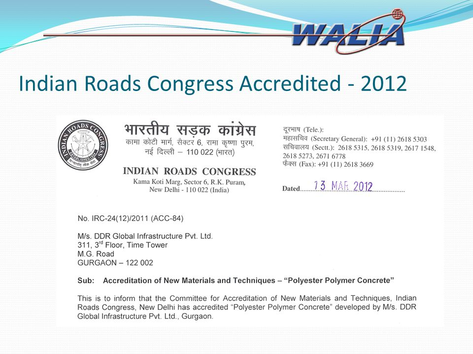 Indian Roads Congress Accredited - 2012