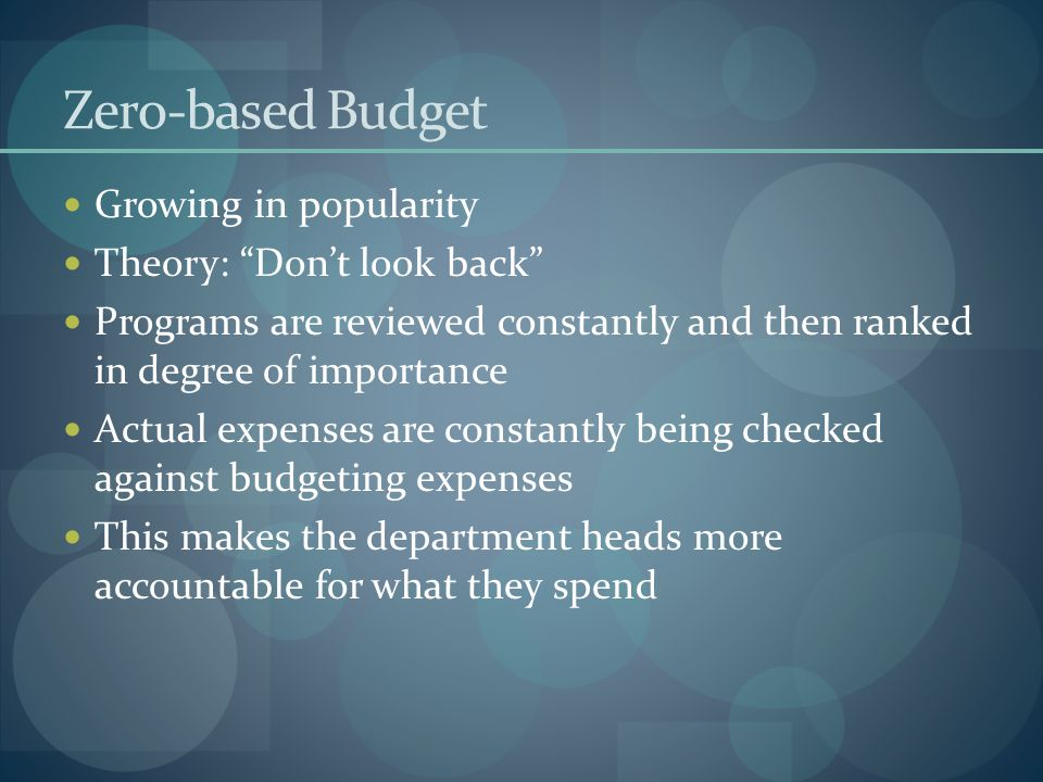 Zero-based Budget Growing in popularity Theory: Don't look back