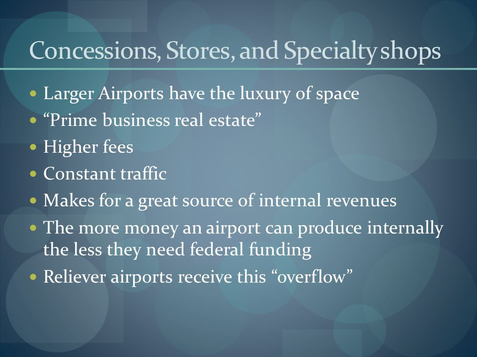 Concessions, Stores, and Specialty shops