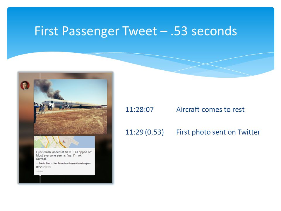 First Passenger Tweet – .53 seconds