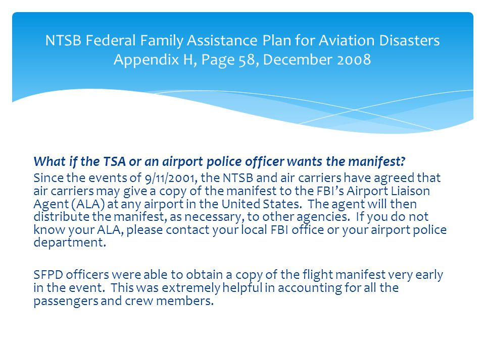 NTSB Federal Family Assistance Plan for Aviation Disasters Appendix H, Page 58, December 2008