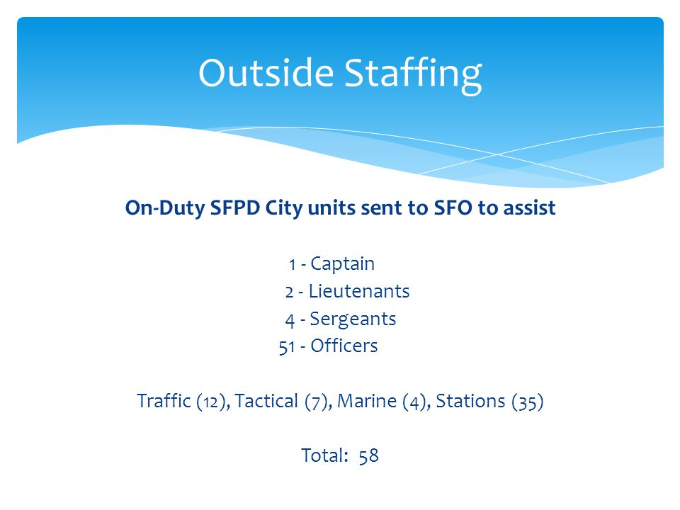 On-Duty SFPD City units sent to SFO to assist