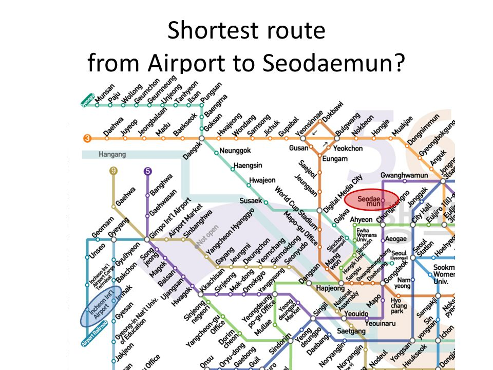 Shortest route from Airport to Seodaemun