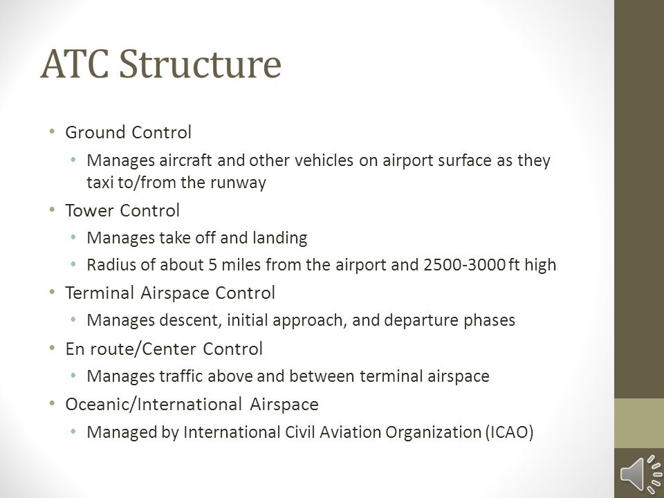 ATC Structure Ground Control Tower Control Terminal Airspace Control