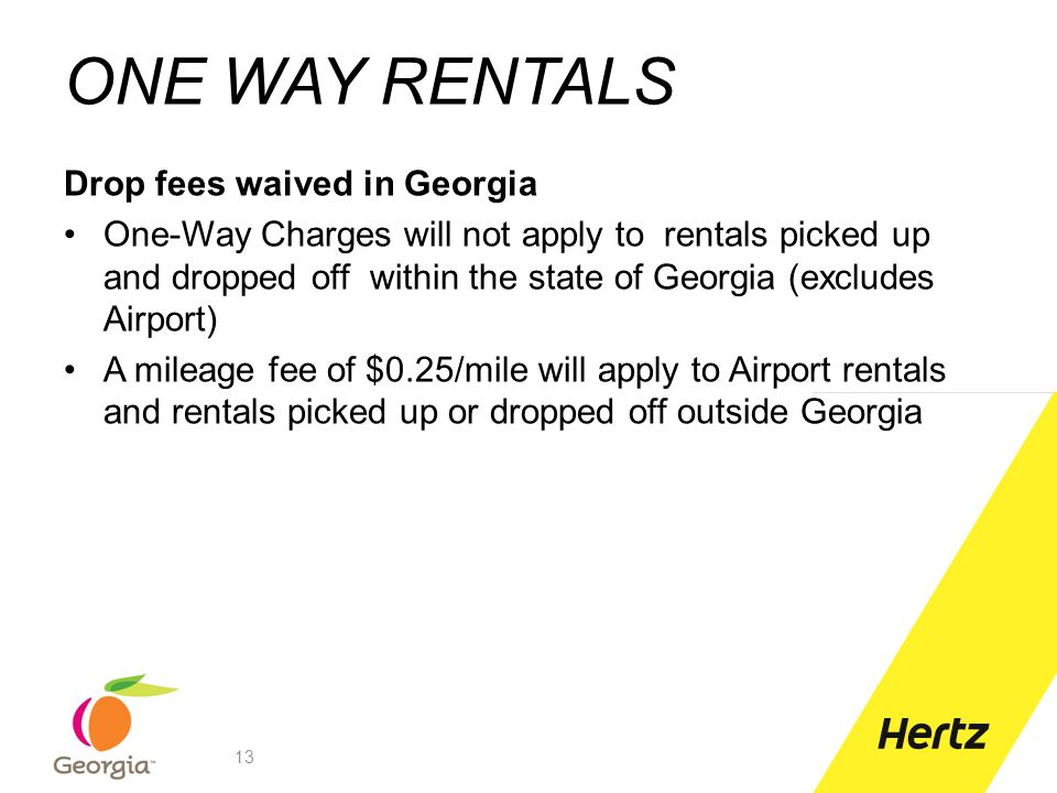 ONE WAY RENTALS Drop fees waived in Georgia