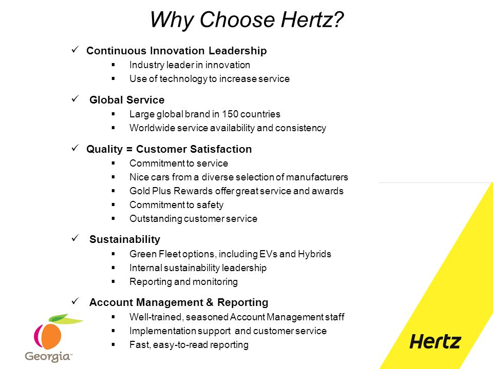 Why Choose Hertz Continuous Innovation Leadership Global Service