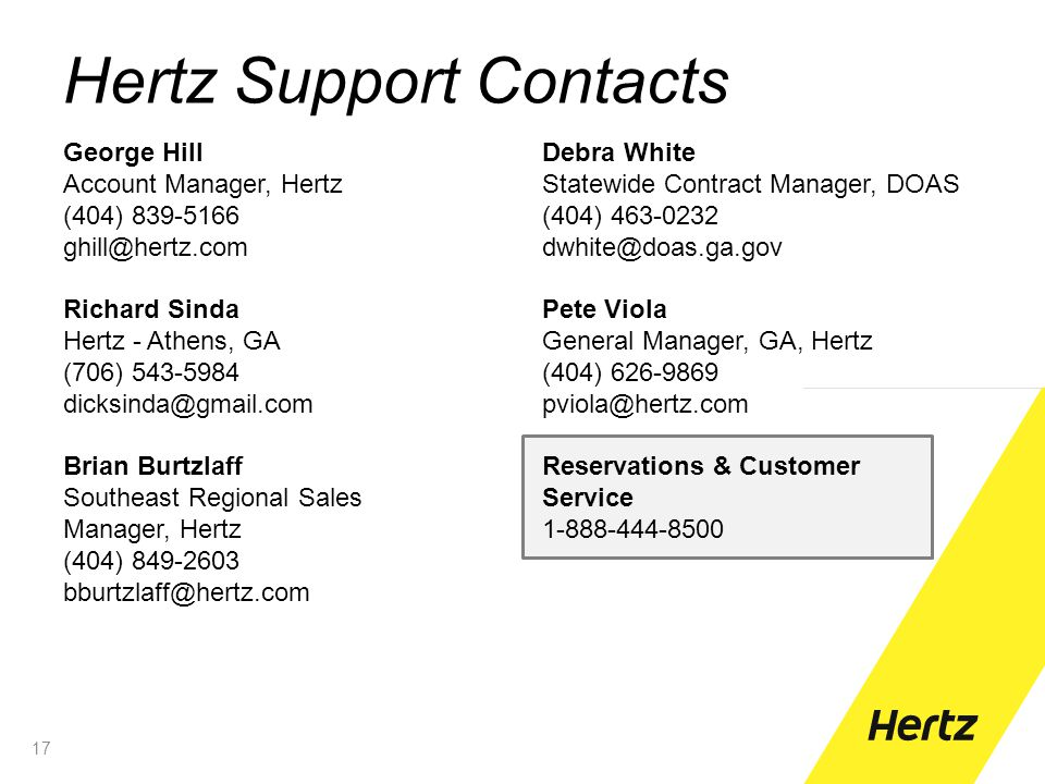 Hertz Support Contacts