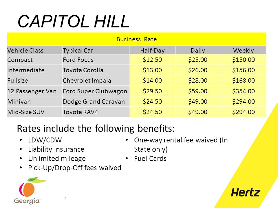 CAPITOL HILL Rates include the following benefits: LDW/CDW