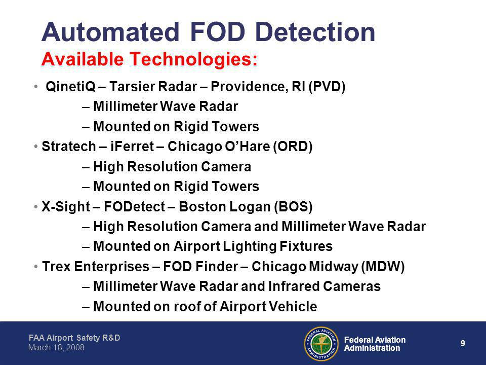 Automated FOD Detection Available Technologies:
