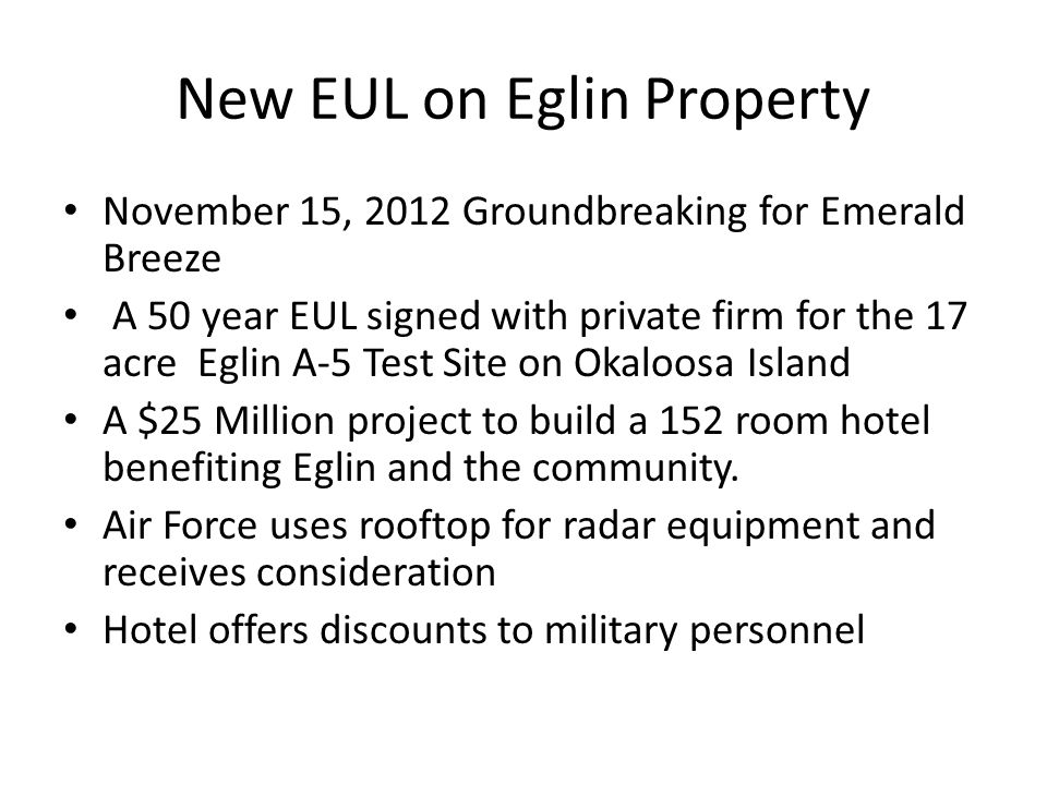 New EUL on Eglin Property