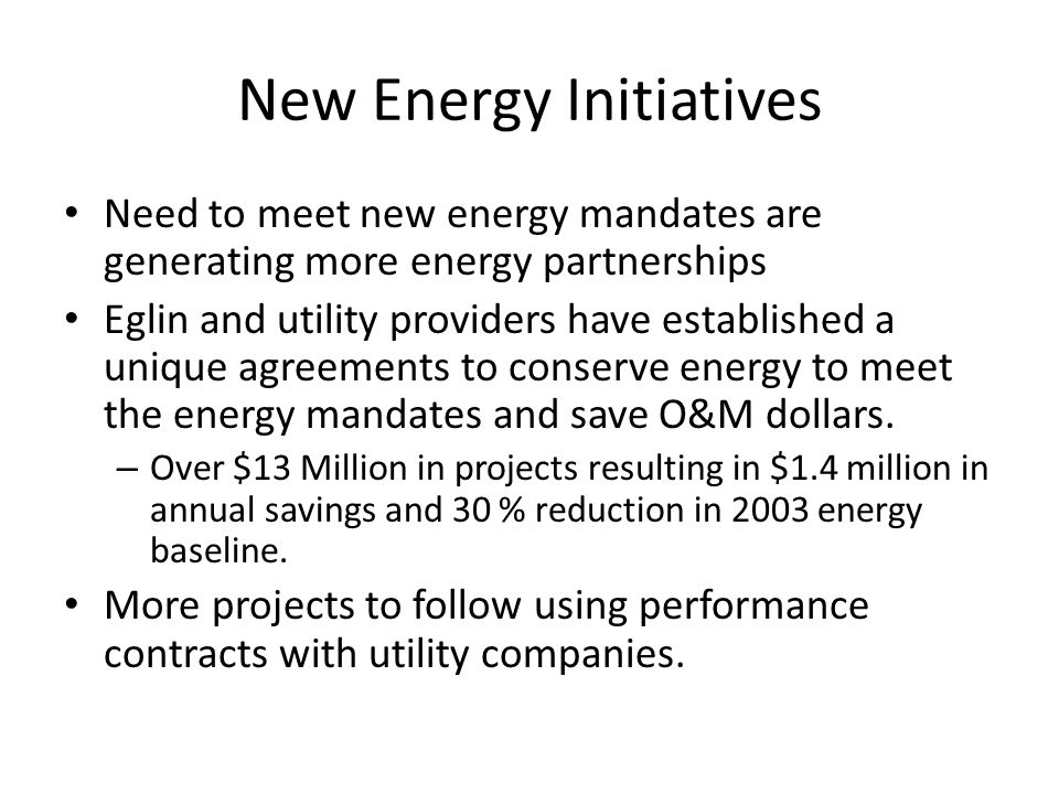 New Energy Initiatives