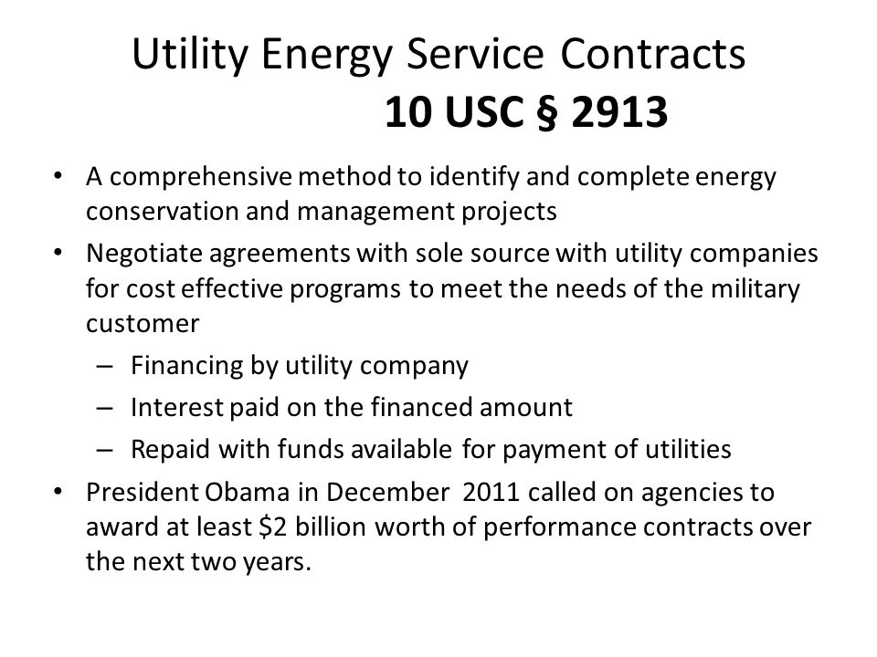 Utility Energy Service Contracts 10 USC § 2913
