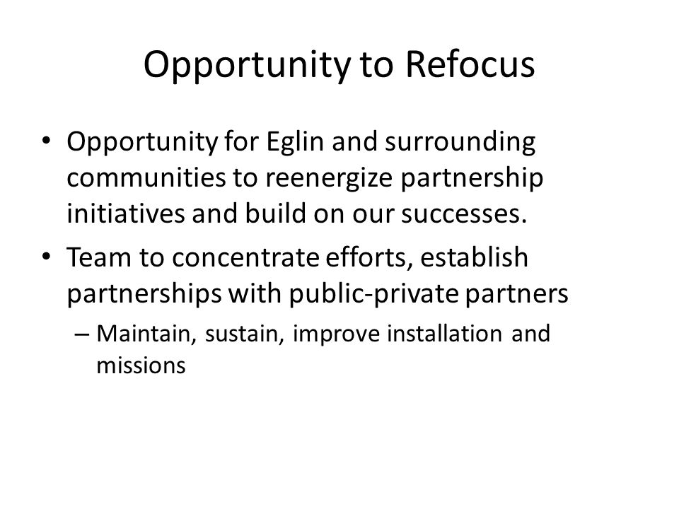 Opportunity to Refocus